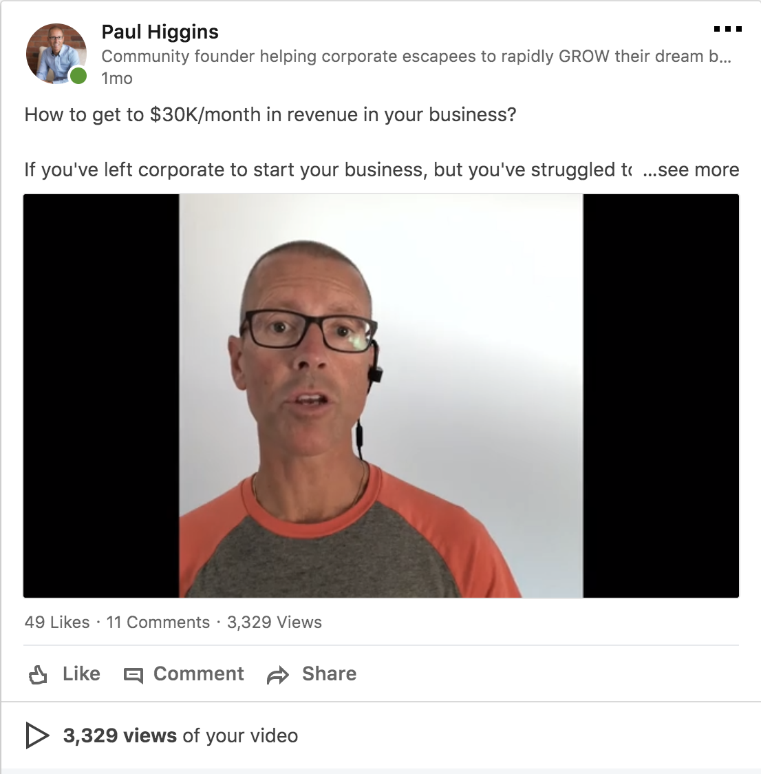 Paul Higgins Linkedin video screenshot